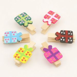 Wooden peg embellishments, Wood, Assorted colours, 3.3cm x 2cm, 6  pieces, (MJZ037)